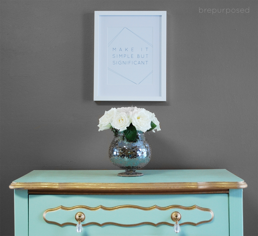 Mint and Gold French Provincial Dresser