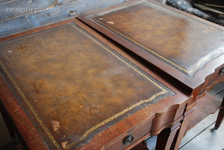 French Script Two Toned End Tables
