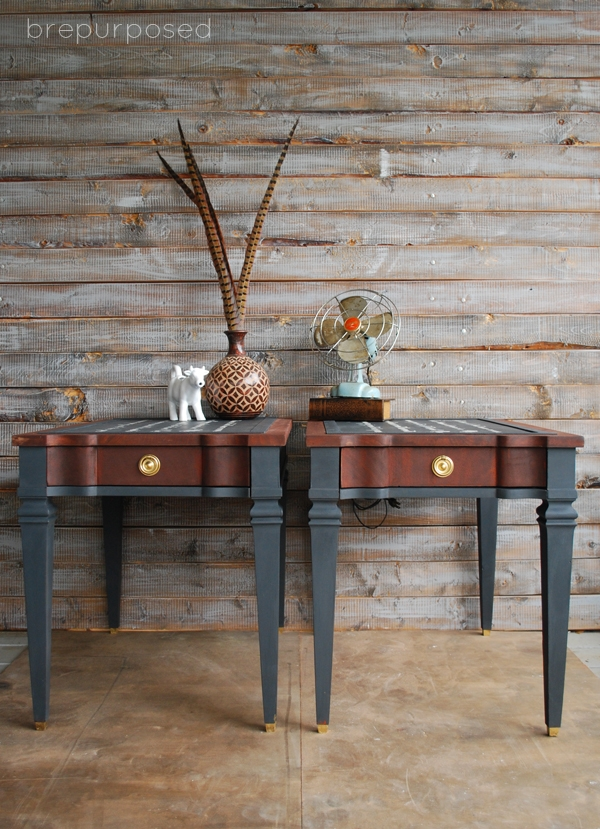 French Script Two Toned End Table