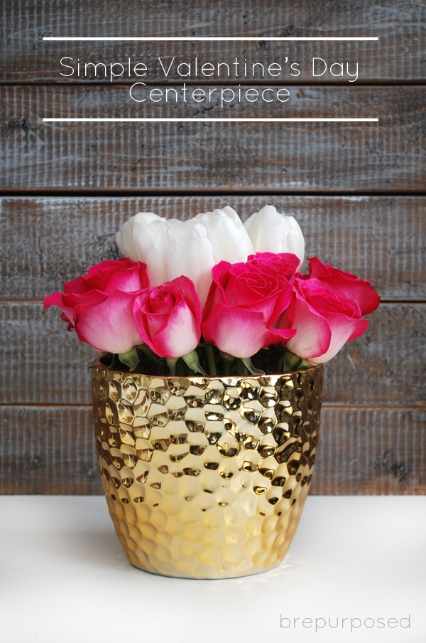 Simple Valentine's Day Centerpiece with Pink Roses and White Tulips