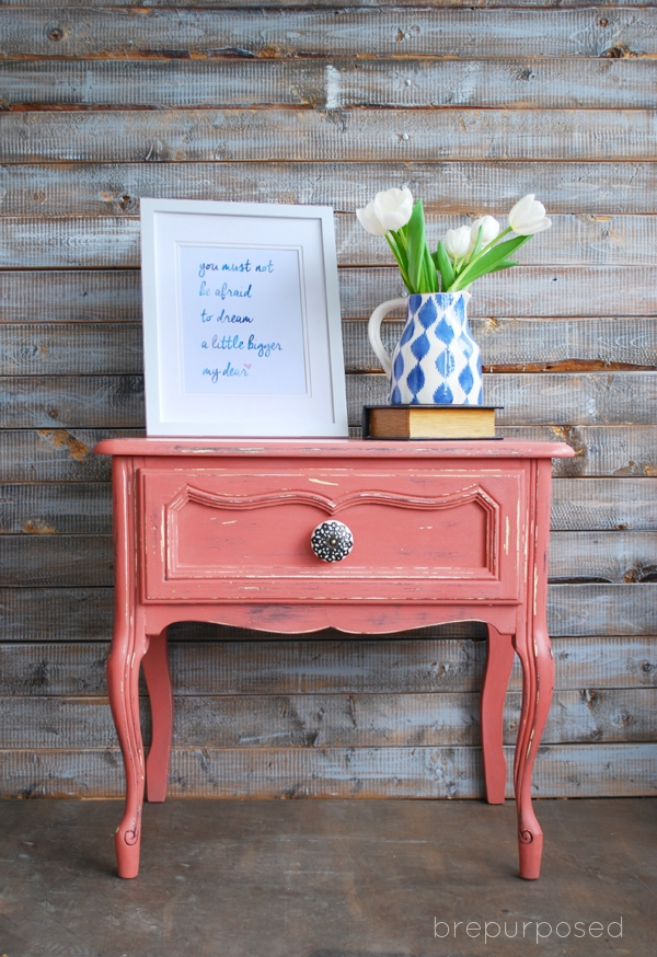 Scandinavian Pink French Provincial Side Table