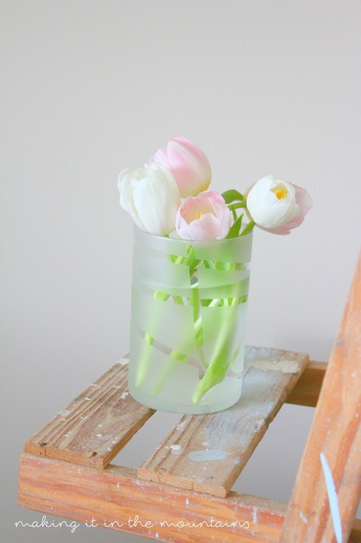 Dollar Store Frosted Vases