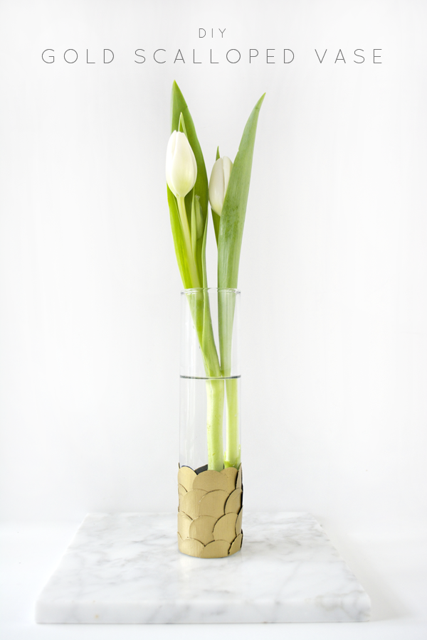 DIY Gold Scalloped Vase
