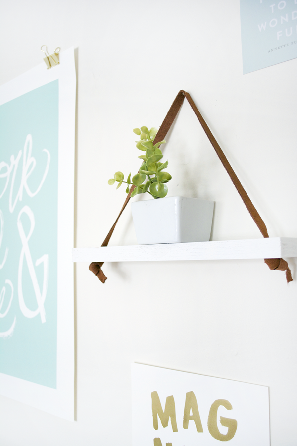 DIY Leather Hanging Shelf
